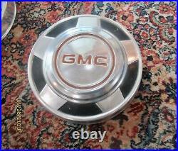 1973-1987 GMC Pick Up Truck Dog Dish 4 Vintage 10 1/4 Hubcaps SUPER NICE