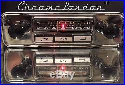 BLAUPUNKT MANNHEIM 12+/- Vintage Chrome Classic Car FM Radio +MP3 FULLY RESTORED