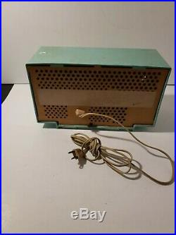 Beautiful Vintage General Electric Radio Powers On Missing Knob Teal Color Parts
