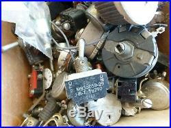 Lot of Vintage Radio Parts Knobs Capacitors Resistors Ohmite Allen Bradley