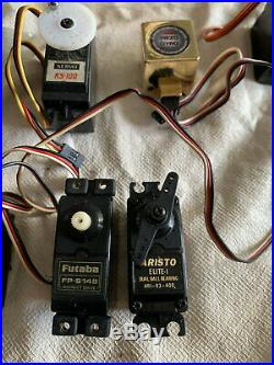 Nos Vintage Radio Control Helicopter Huge Parts Lot Futaba Servos Kalt Hirobo