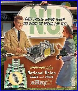 RARE Vintage NATIONAL UNION Tubes Parts Radio Repair Shop Dealer Die Cut Sign
