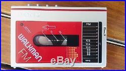 Sony Walkman Wm-f10 Red Sony Walkman Vintage 1983 Powers On For Parts