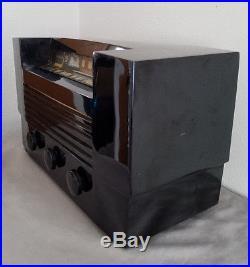 VTG 1946 RCA Victor Radio model 66×7 black Catalin Art Deco