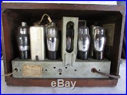 Vintage 1920s/1930s Philco Valve Tube Radio Wood Case WORKING Part NO. 37-5505