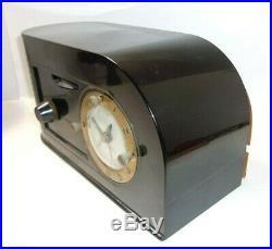 Vintage Continental Black Plastic Art Deco Tube Clock Radio Model 1600 Parts