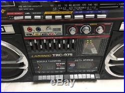 Vintage Jumbo Lasonic Trc-975 Stereo Boombox Double Cassette Radio Parts Read