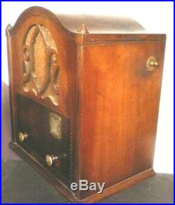 Vintage MAJESTIC 50 CATHEDRAL RADIO parts WOOD SHELL, faceplate, 2 KNOBS, cloth
