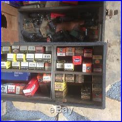 Vintage Original TV Radio Repairman TUBES & TOOLS CARRYING WOOD CASE PARTS BOX