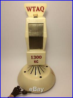 Vintage Promotional WTAQ 1300 KC Microphone Mic Collectable Radio (For Parts)