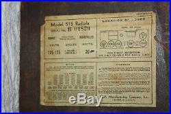 Vintage RCA Model 515 Radiola Wood Case Tube Type Radio Parts or Repair