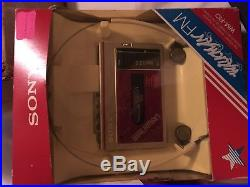 Vintage Sony Walkman WM-F10 For Parts or Repair Orig. Packaging Headphones/Clip