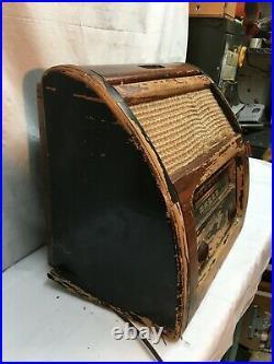 Vintage Wood Philco Short Wave Radio 1940s Bakelite Knobs Roll Top Parts Repair