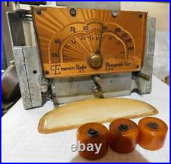 Vintage Yellow Catalin Emerson Au-190 Radio, Only Cabinete & Parts, For Restore