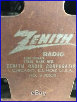 Vintage antique tube radio ZENITH model S-20558 for Parts or Repair